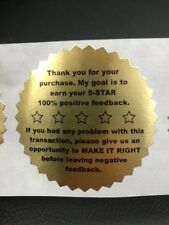 "250 5-Star Feedback 2"" STICKER Starburst GOLD FOIL NEW Stickers  5-Star Feedback"