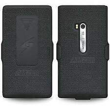 BLACK HARD SHELL CASE COVER + BELT CLIP HOLSTER FOR NOKIA LUMIA 900