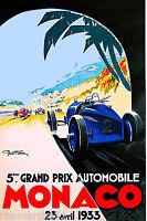 1933 5th Grand Prix de Monaco Car Race Advertisement Art Travel Poster Print