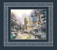 "Thomas Kinkade Christmas Winter Holiday House Panel Quilt Fabric  18"" x 19"""