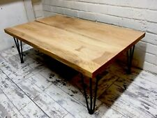 Industrial and Modern Coffee table, Solid Oak Hairpin Legs 95x60x35cm, Handmade