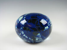 Charles Lotton Magnum size Art Glass Paperweight with Blue Hearts and Vines 1975