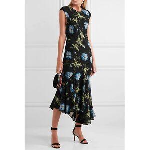 Topshop Unique Runway Collection Black Floral Maxi Dress UK8