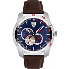 Ferrari Primato AUTOMATIC Blue Stainless Men's 44mm w/Brown Strap Watch 0830443
