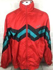 Vintage Retro 90s ADIDAS Wavey Red Shell Jacket Windbreaker Size XL