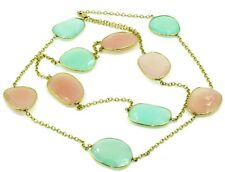 """Pink & Green Chalcedony 40.4 Grams 36"""" Necklace,14K Yellow Gold"""