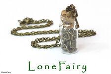 Bronzo placcato chiavi in miniatura in una bottiglia COLLANA COSPLAY lucchetto chiave Steampunk