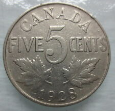 1928 CANADA 5¢ KING GEORGE V NICKEL COIN