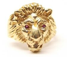 Vtg 10K Gold Lion Head Ring Cameo Sz 8.25 Ruby Eyes Diamond Figural Heavy Biker