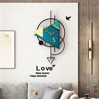 Triangle Swingable Large Wall Clock Modern Design Living Room Home Decoration