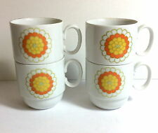 VTG MCM Georges Briard FLORETTE Lot 4 Coffee Cups Sunflower Stacking Japan