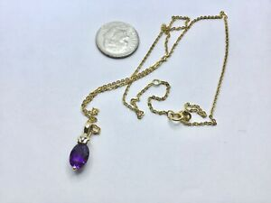 Beautiful 14K Yellow Gold, Amethyst And Diamond Accent Pendant Necklace, 2.4 Gr
