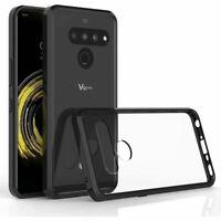 LG V50 Thinq - Bumper Slim Clear Case Hard TPU Cover + Black