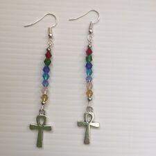 Chakra Colour Dangle Earrings With Egyptian Ankh Charm - Spiritual - Healing