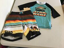 NWT Disney Store Star Wars Rash Guard Set Shirt Trunk 2 pc set UPF 50+ Boy