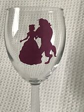 Beauty  and the beast Vinyl Decal Stickers Glitter Magenta Wine Glass Glitter X2