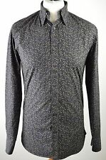Premium men's Ted Baker black pastel tear drop long sleeved fitted shirt small 2