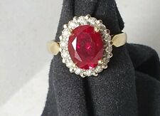 9k Yellow Gold Diamond And Created Ruby Ring Size  O
