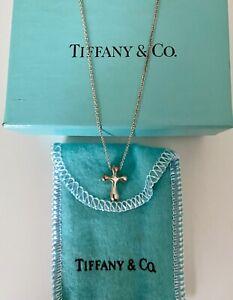 Tiffany & Co Genuine Elsa Peretti Cross Pendant Silver Necklace