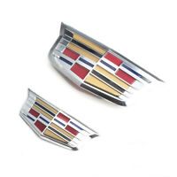Silver Color Cadillac Front Grille Rear Trunk Emblem Badge for ATS XTS 2015-2019