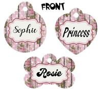 Pet ID Tag Flowers Personalized Custom Double Sided Pet Tag w/name & number