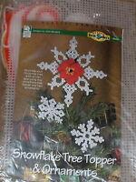 "Christmas ""Snowflake Tree Topper & Ornaments"" Plastic Canvas Kit NIP"