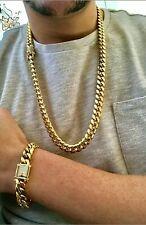 Mens Miami Cuban Link Bracelet & Chain Set 14k Gold Plated 10mm Diamond Clasp