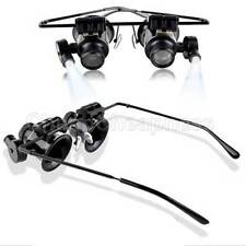 Jeweler Watch Repair LED Light 20x Magnifier Magnifying Eye Glasses Loupe Lens