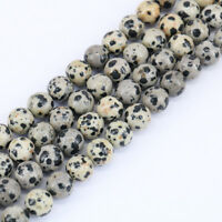 16''Strand Dalmation Jasper Stone Loose Spacer Beads Jewelry Findings 4/6/8/10MM