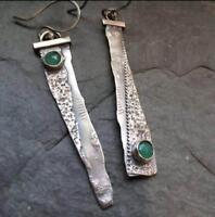 Vintage Thai 925 Silver Emerald Handmade Hook Asymmetry Dangle Earrings Jewelry