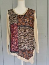 Democracy Womens  Asymmetric Top Size Large Long Sleeve