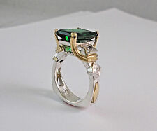 Sterling Silver and 18Kt  Two Tone Emerald Ring with Accent Princess Cuts Size 7