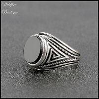 Mens/Unisex Vintage Silver or Gold Ring w/ Black Enamel Stone & Geometric Design