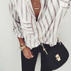 Casual Vertical Striped T Shirt Women Cotton Button Down Long Sleeve Blouse Tops