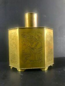 Rare Fine Antique Chinese Engraved Hexagonal Copper/Brass Tea Caddy