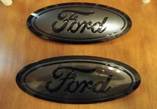 2015-17 Ford F150 GRILL and TAILGATE emblem CUSTOM GLOSS magnetic & black PAIR