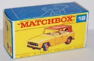Matchbox Lesney No 18 Field Carempty Repro E style Box