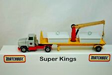 Matchbox SuperKings K-18 FORD LTS Truck & K-33 FLAT-BED Trailer with 360* CRANE