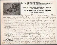 c1900 Crockford Engine Works Automobile Dartford Kent England  Letter Head