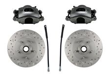 GM AFX Body Chevelle Disc Brake Cross drilled Rotors, Loaded calipers, AFXCD