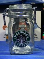 Cannabis And Coffee Glass Latch Top Jar Apothecary Prescription Weed Smell Proof