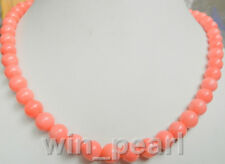 """Necklace pink coral 8mm round beads 18 """"AAA Jewelry"""