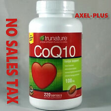 Trunature CoQ10 100mg Coenzyme Q-10 Heart Antioxidant 220 Softgels EXP 07/2019