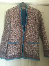 70's Hippy Vintage Indian Cotton Quilted Block Print Jacket Coat size 8 boho S
