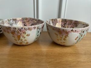 anthropologie bowls set of two soup cereal pink green gold yellow NWOB