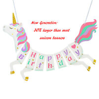 Unicorn Happy Birthday Banner Party Supplies Decorations RAINBOW PARTY