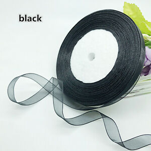 "New 50 Yards 3/8"" (10mm) Satin Edge Sheer Organza Ribbon Bow Wedding DIY Craft"