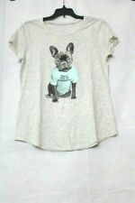 """Justice Girls' Size 7 Gray Graphic Tee - Puppy with """"i'm a ray of sunshine"""""""