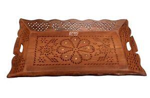 Handmade Wooden Serving Tray Beautiful Brass Inlay Work