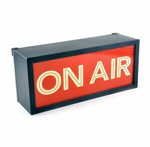 ILLUMINATED VINTAGE RETRO ON AIR METAL WALL SIGN LIGHT BOX UK MAINS PLUG 240V *